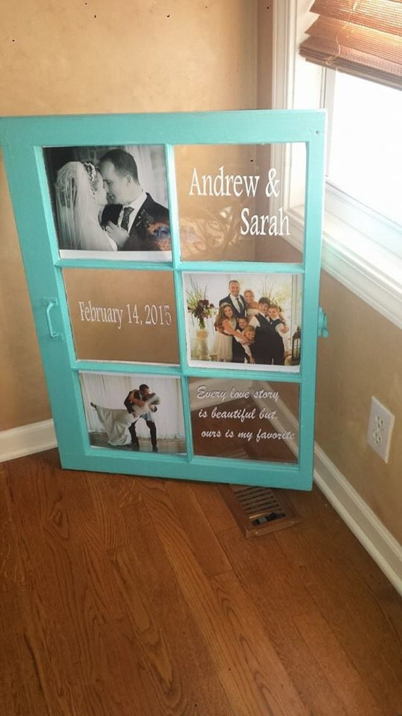 Framed Name Sign w// Music Themed Letter Photographs Personalized Wedding Gift