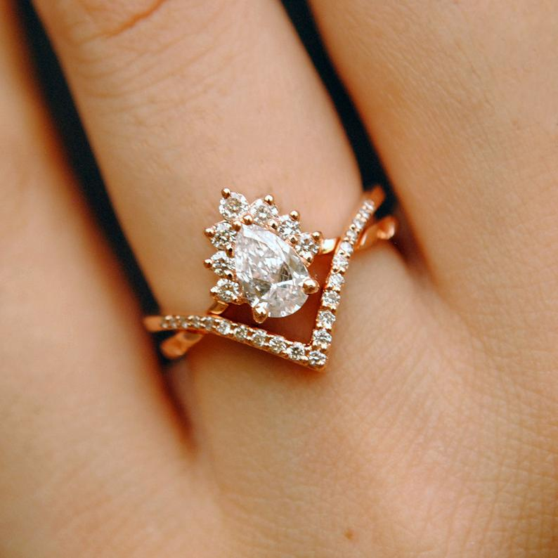 1 2 Carat Pear Diamond Wedding Ring Set 14k Rose Gold Crossover Bridal Ring Set Chevron V Wedding Band Half Halo Stacking Engagement Ring Diamond Wedding Rings Sets Stacked Engagement Ring Wedding