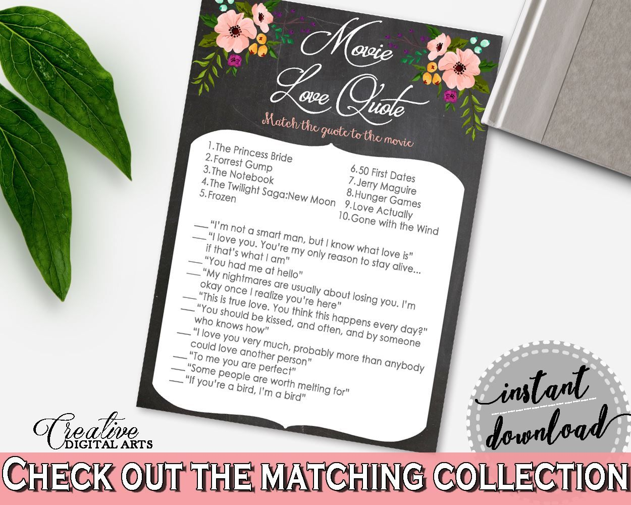 Movie Love Quote Game in Chalkboard Flowers Bridal Shower Black And ...
