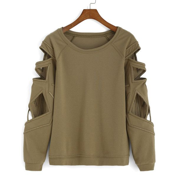Bat Sleeve Hollow Green T-shirt (€13) ❤ liked on Polyvore featuring tops, t-shirts, jumpers, romwe, shirts, sweaters, green, brown long sleeve t shirt, long sleeve tops and round neck t shirt