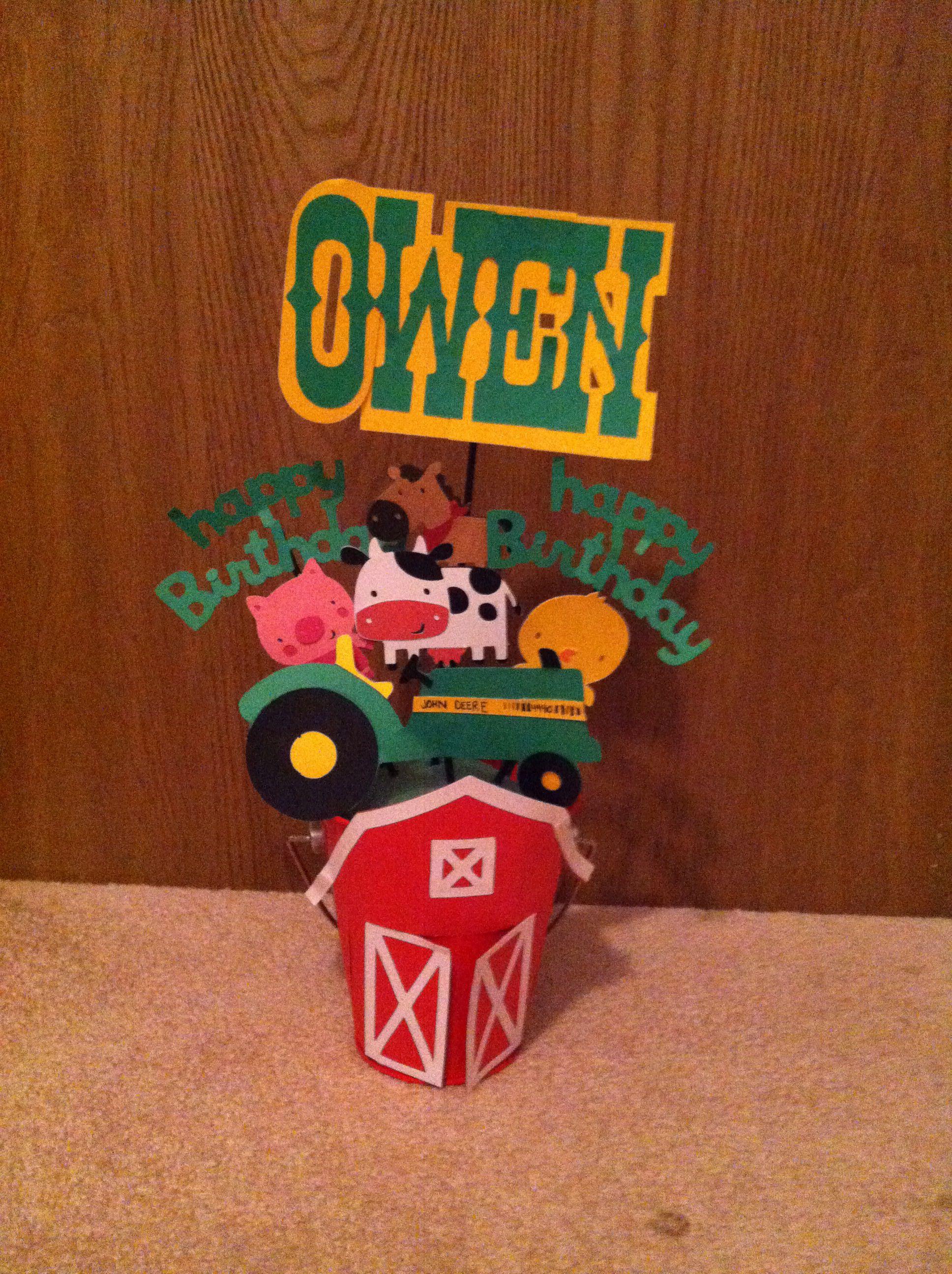 First birthday John Deere centerpiece | My cricut creations ...