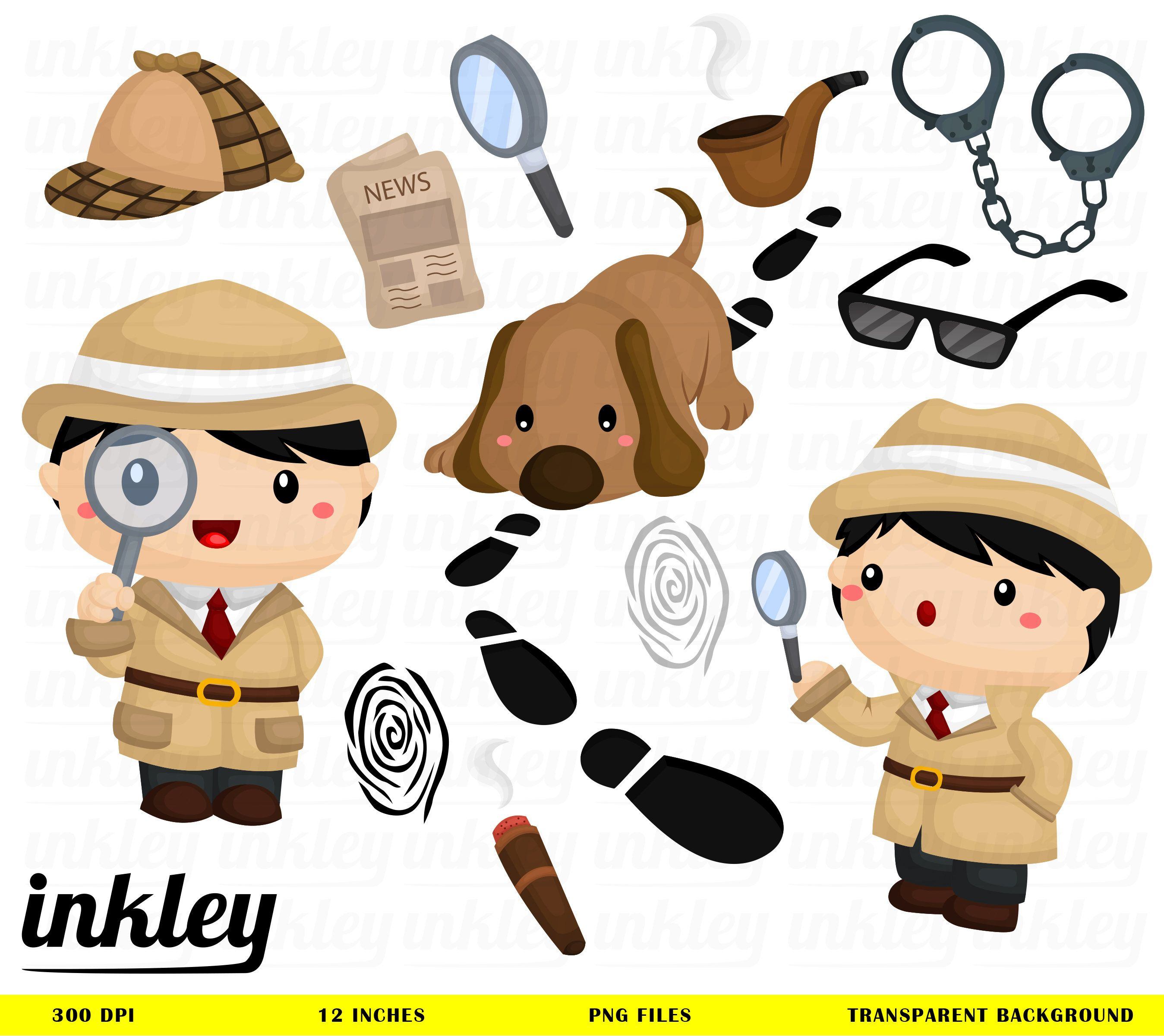 Cute Detective Clipart Job And Occupation Clip Art Tracker Etsy In 2021 Detective Theme Clip Art Detective