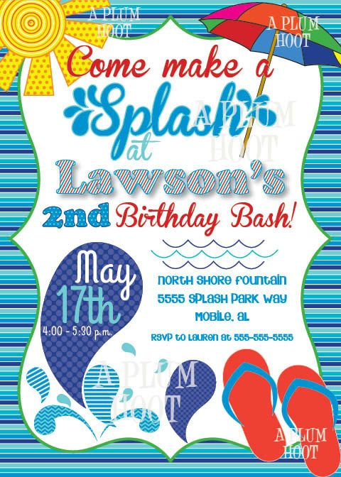 pool party splash pad birthday party invitation by aplumhoot bday