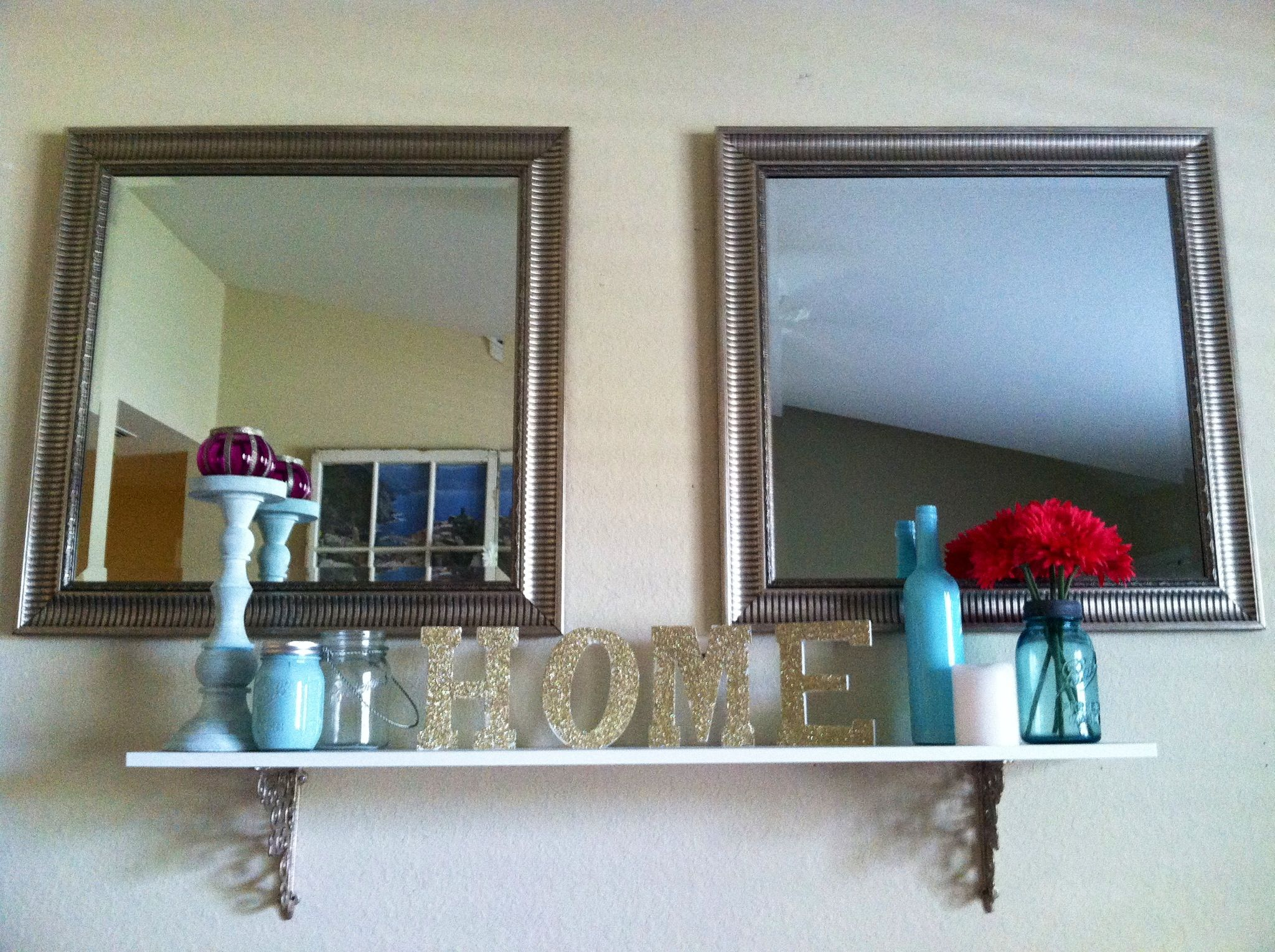 Above window shelf ideas  brackets from hobby lobby and a white slab of wood made a great