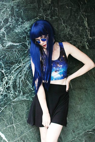 Get this look: http://lb.nu/look/8423007  More looks by Mahayanna . M: http://lb.nu/mahayanna  Items in this look:  Rosegal Blue Wig, Rosegal Cosmic Crop Top   #edgy #punk #street