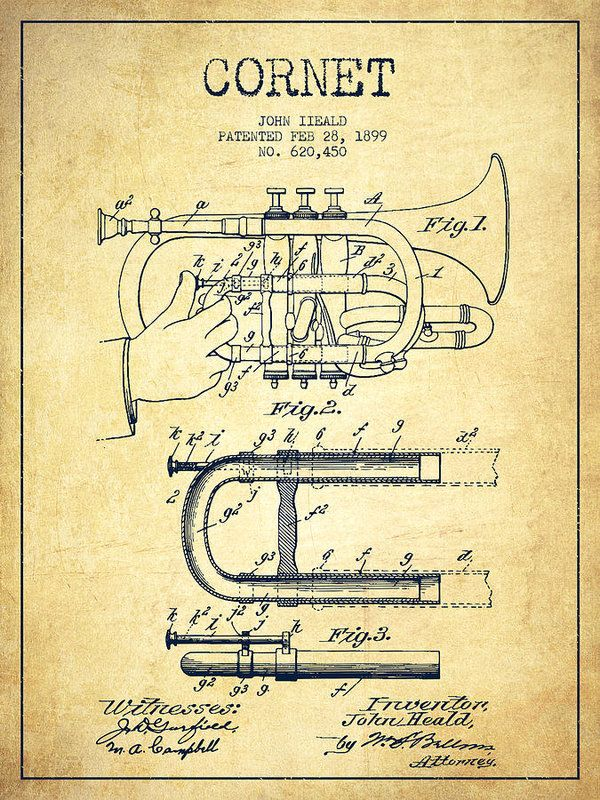Cornet Poster featuring the drawing Cornet Patent Drawing From 1899 - Vintage by…