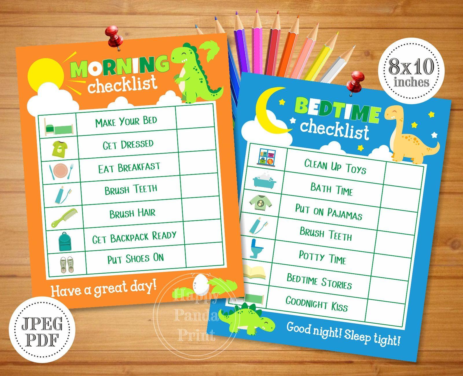 Morning And Bedtime Checklist Printable Boy Morning
