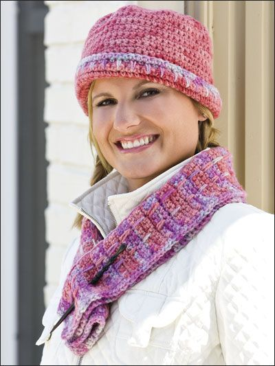 Free Mosaic Scarf & Matching Cloche Crochet Pattern -- Download this ...