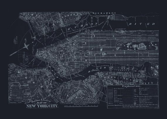 Blueprint nyc map old map of manhattan new york city map blueprint nyc map old map of manhattan new york city map blueprint map office wall art professional reproduction malvernweather Gallery