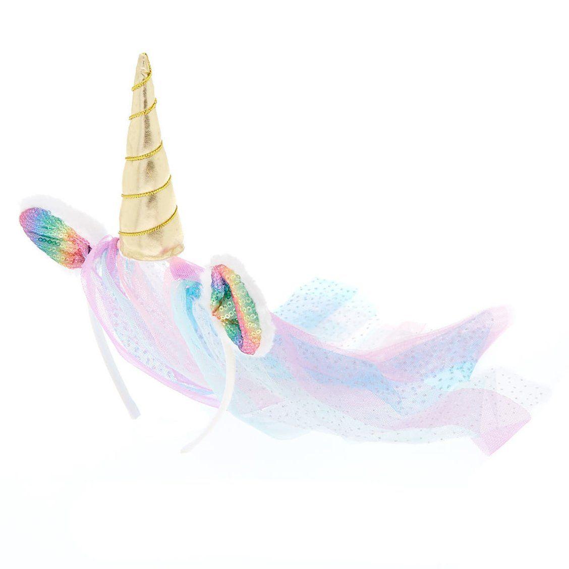 Claire s Club Unicorn Veil Headband  ea10b1dd122