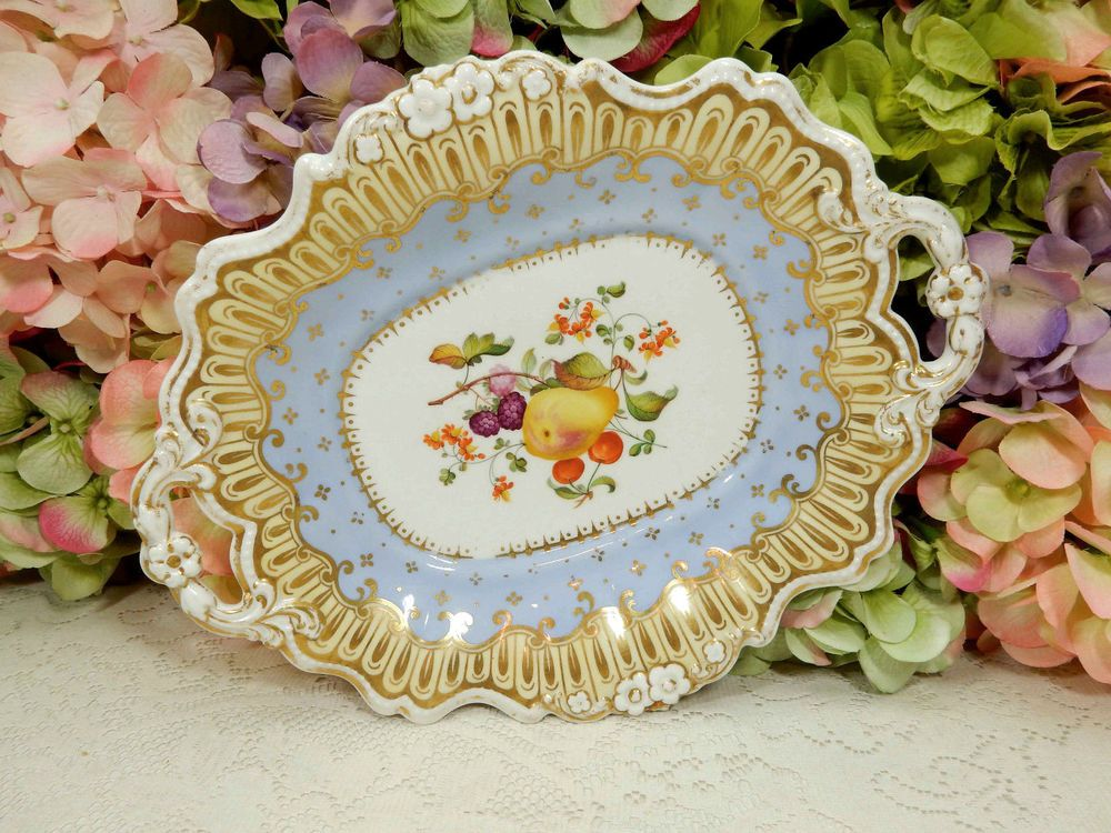 Antique English Porcelain Serving Dish Platter Gold Coalport