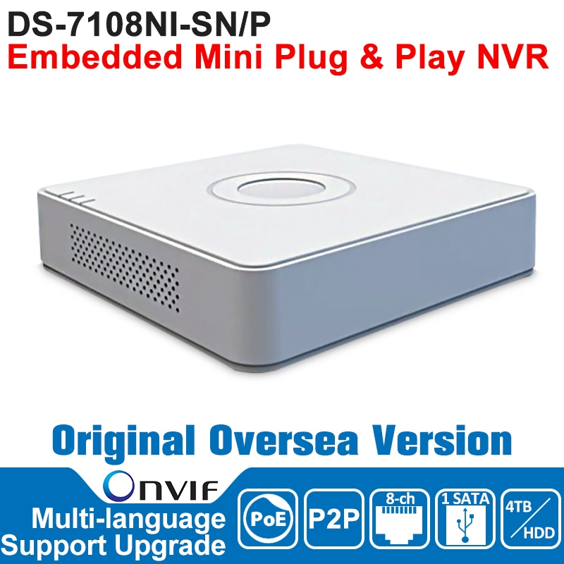 122.40$  Buy now - http://aliokm.worldwells.pw/go.php?t=32765482406 - Hik NVR 8CH POE IP Camera Network Video Recorder DS-7108NI-SN/P 8CH NVR POE 8CH POE 1SATA Embedded Mini Plug and Play NVR 122.40$