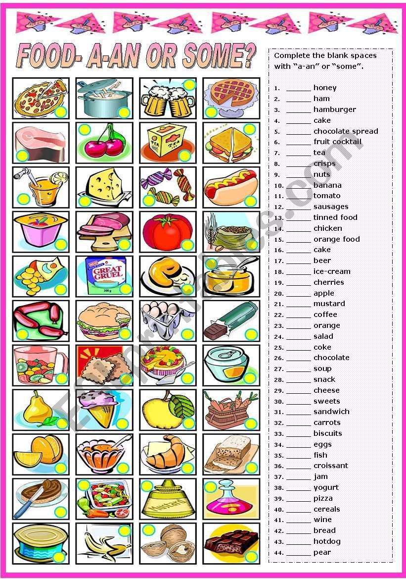 Second worksheet in a set of three on food. Here students