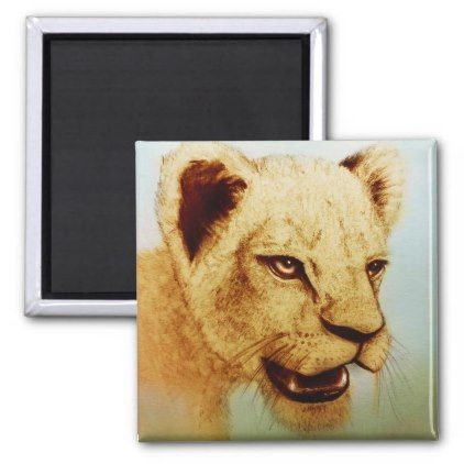 Wilder Löwe realistische Tierkunst Quadratischer Magnet  Zazzle  animals