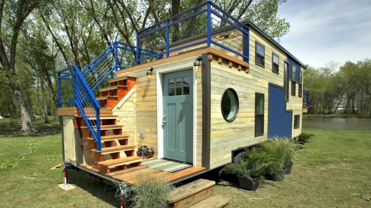 Tiny Home Custom Triple-Axle Trailer Split Balcony  Small house