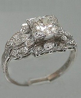 Captivating Platinum Art Deco Filigree Engagement Ring Set In Platinum, Engagement Ring  Holds A Round Old European Cut Diamond That Weighs Ct.