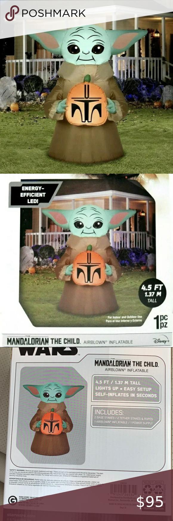 Nib Baby Yoda Halloween Airblown Inflatable Yard Yoda Halloween Inflatable Simple Storage
