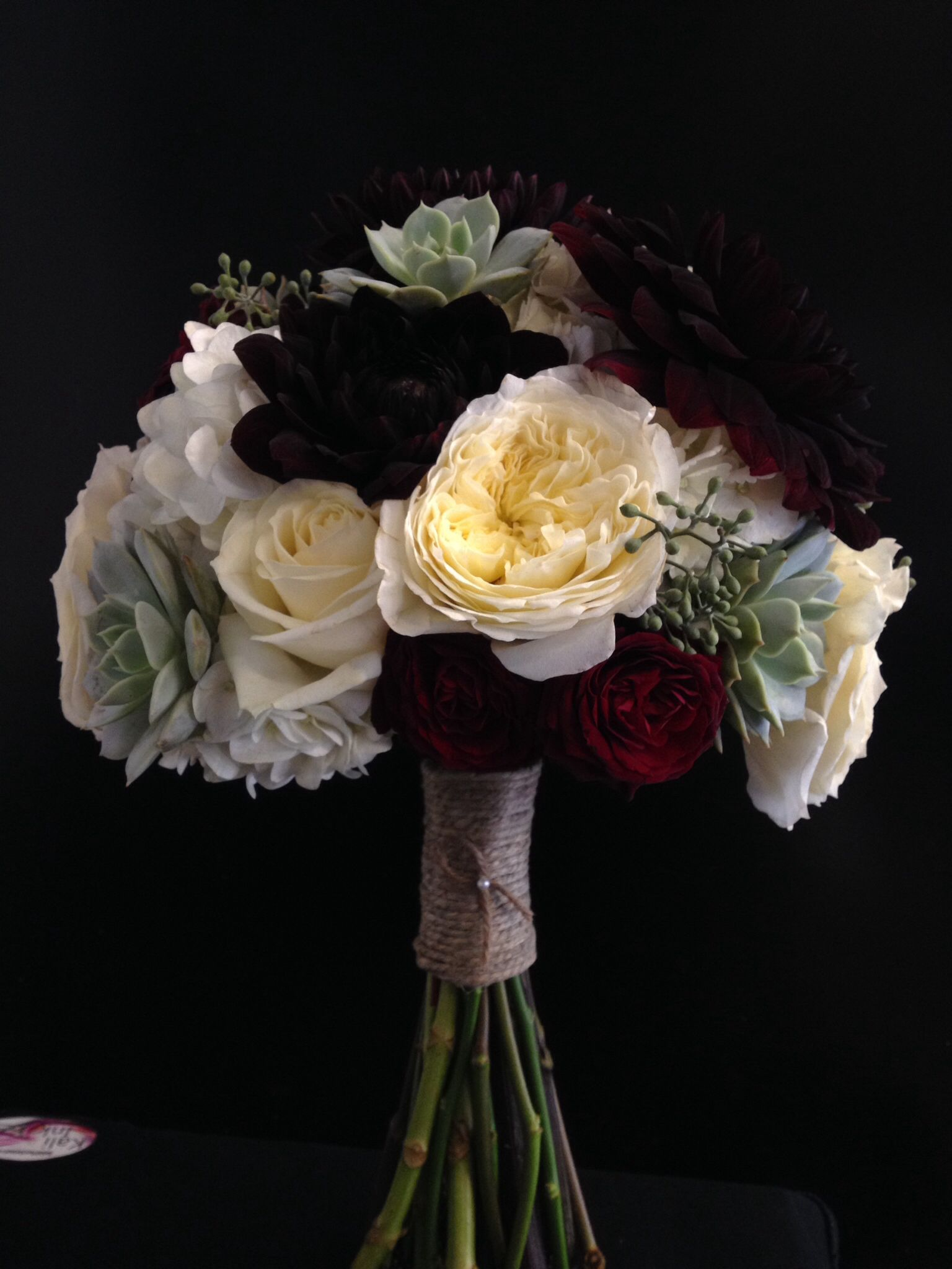 hydrangea succulent garden rose and burgundy dahlia bridal bouquet