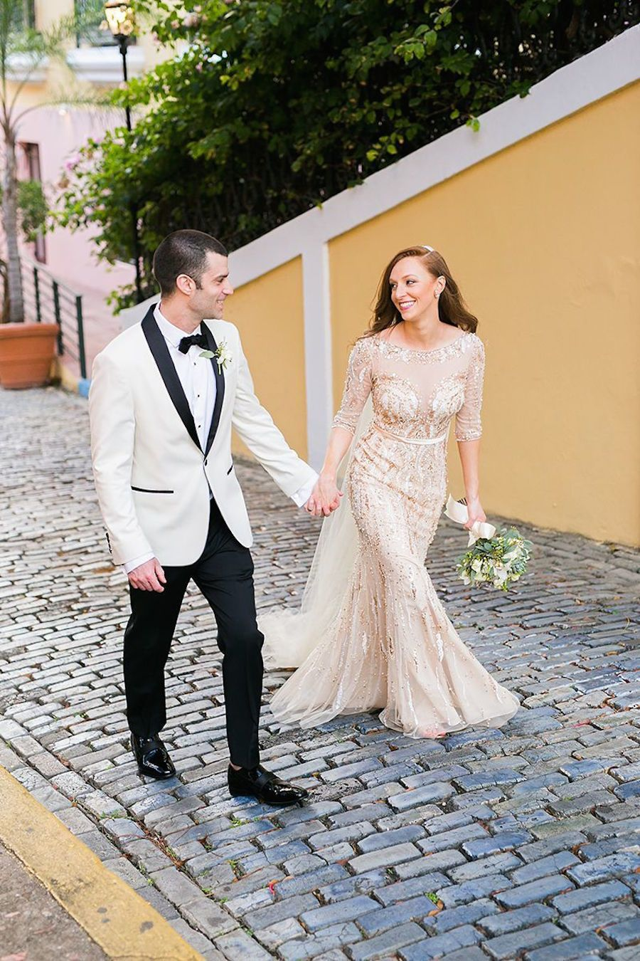 A Gold Beaded Gown Set The Stage For A Glam Puerto Rican Wedding Gold Wedding Gowns