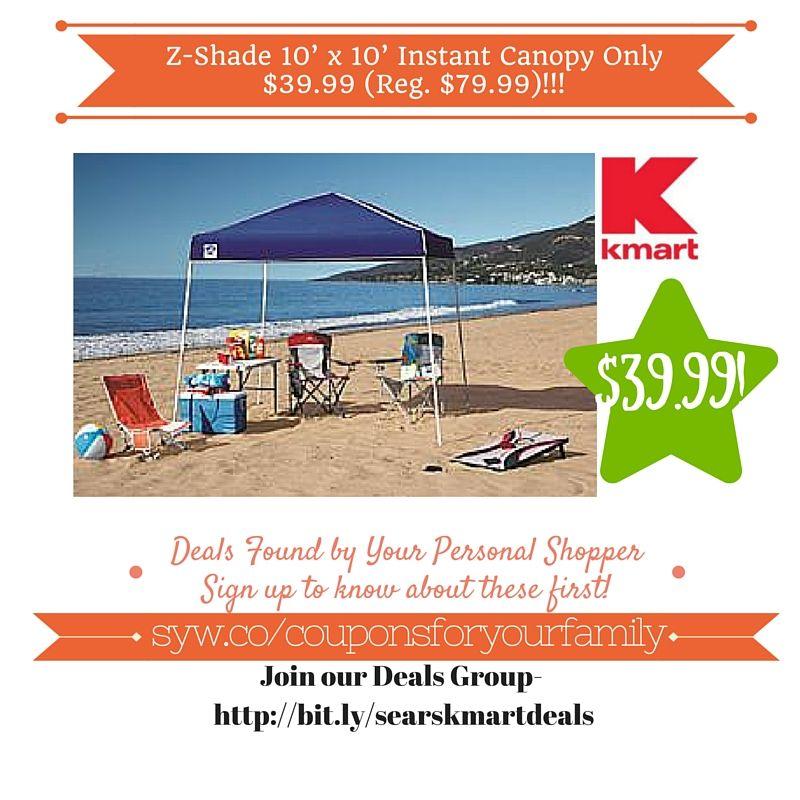 Kmart Retail Deals Z-Shade 10u0027 x 10u0027 Instant Canopy Only $39.99 (Reg. $79.99)  sc 1 st  Pinterest & Kmart Retail Deals: Z-Shade 10u0027 x 10u0027 Instant Canopy Only $39.99 ...