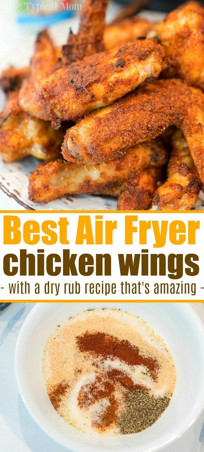 Air fryer wings recipe and the best rub for chicken wings ever! If you're looking for a healthy alternative to fried chicken with the same great taste these naked chicken wings in your air fryer are the answer. Simple and flavorful without using any oil to cook them. #airfryer #chicken #wings #chickenwings #dryrub #best #naked #rub #simple #ninjafoodi #airfryerwings #airfryerrecipes
