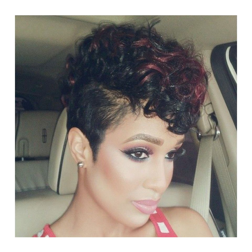 Synthetic wig short pixie wig with bangs for black women natural
