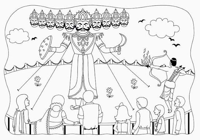 Dusshera Ravan Ravana Dussera Scenery Drawing For Kids Art Drawings For Kids Drawings