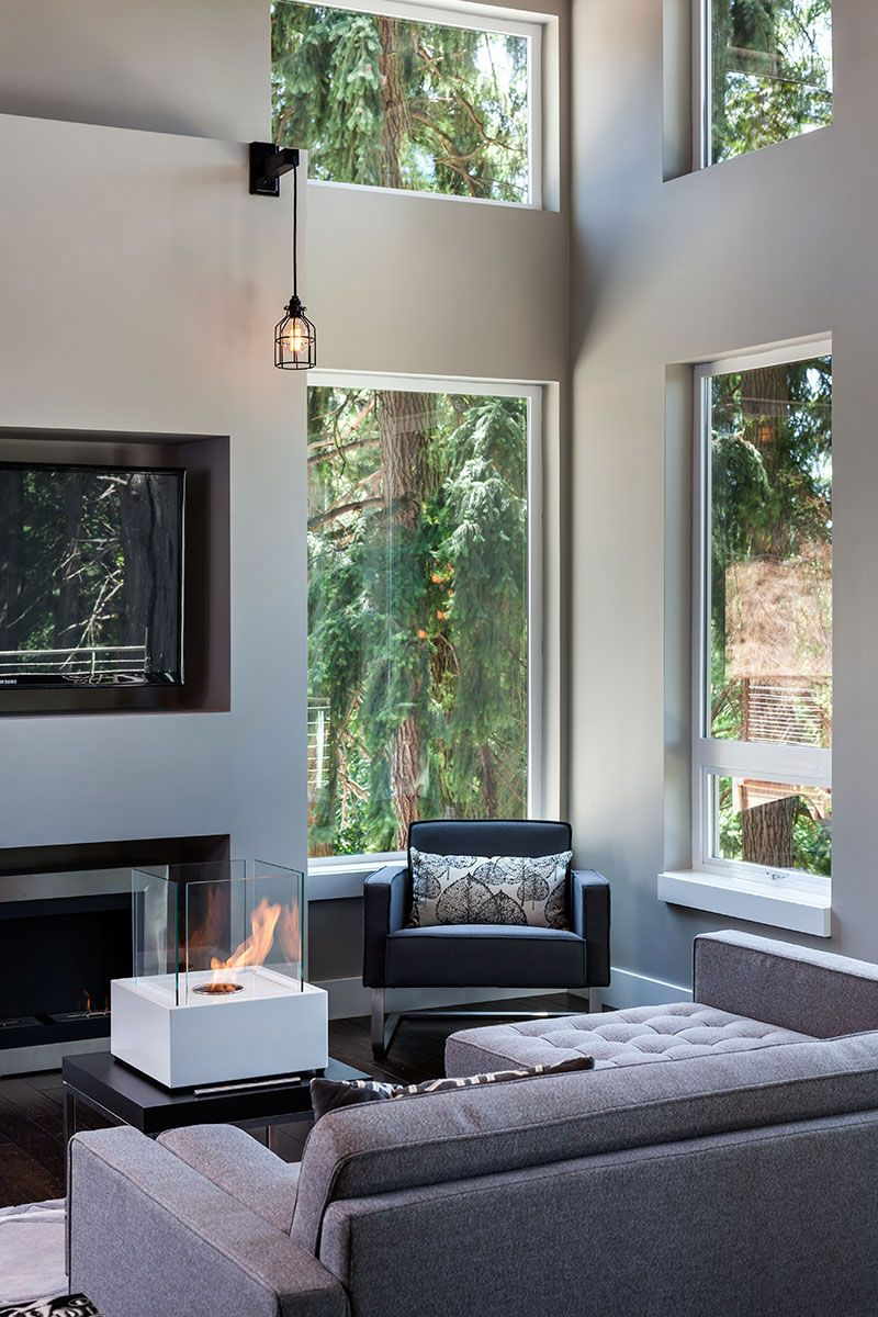 Contemporary fireplace modern home in eugene oregon by jordan iverson signature homes