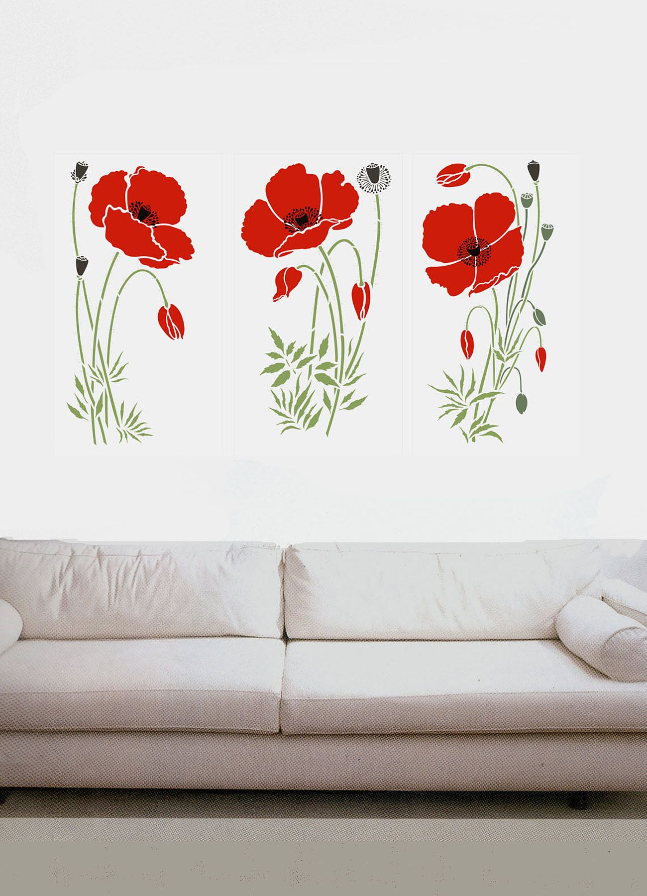 Large Wild Poppies Theme Pack Stencil Henny Donovan