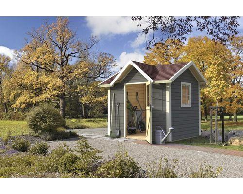 Skandinavisches Gartenhaus gartenhaus karibu prebitz 2 241 x 214 cm terragrau bei hornbach