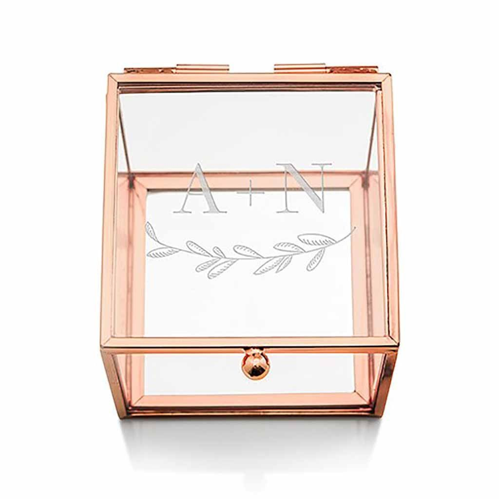 Garland Under Etched Monogram Rose Gold Small Glass Jewelry Box