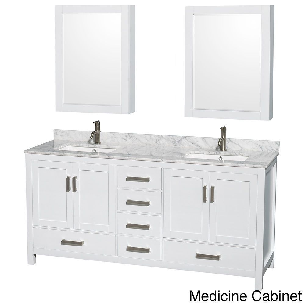 Sheffield White 72 Inch Double Bathroom Vanity With