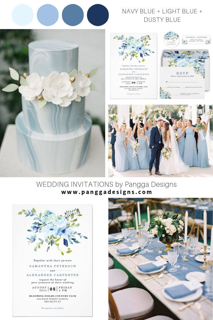 Simple Light Blue Navy Floral Watercolor Wedding Blue Floral Light Navy Simple Watercolor Weddin In 2020 Blue Themed Wedding Wedding Colors Wedding Theme Colors