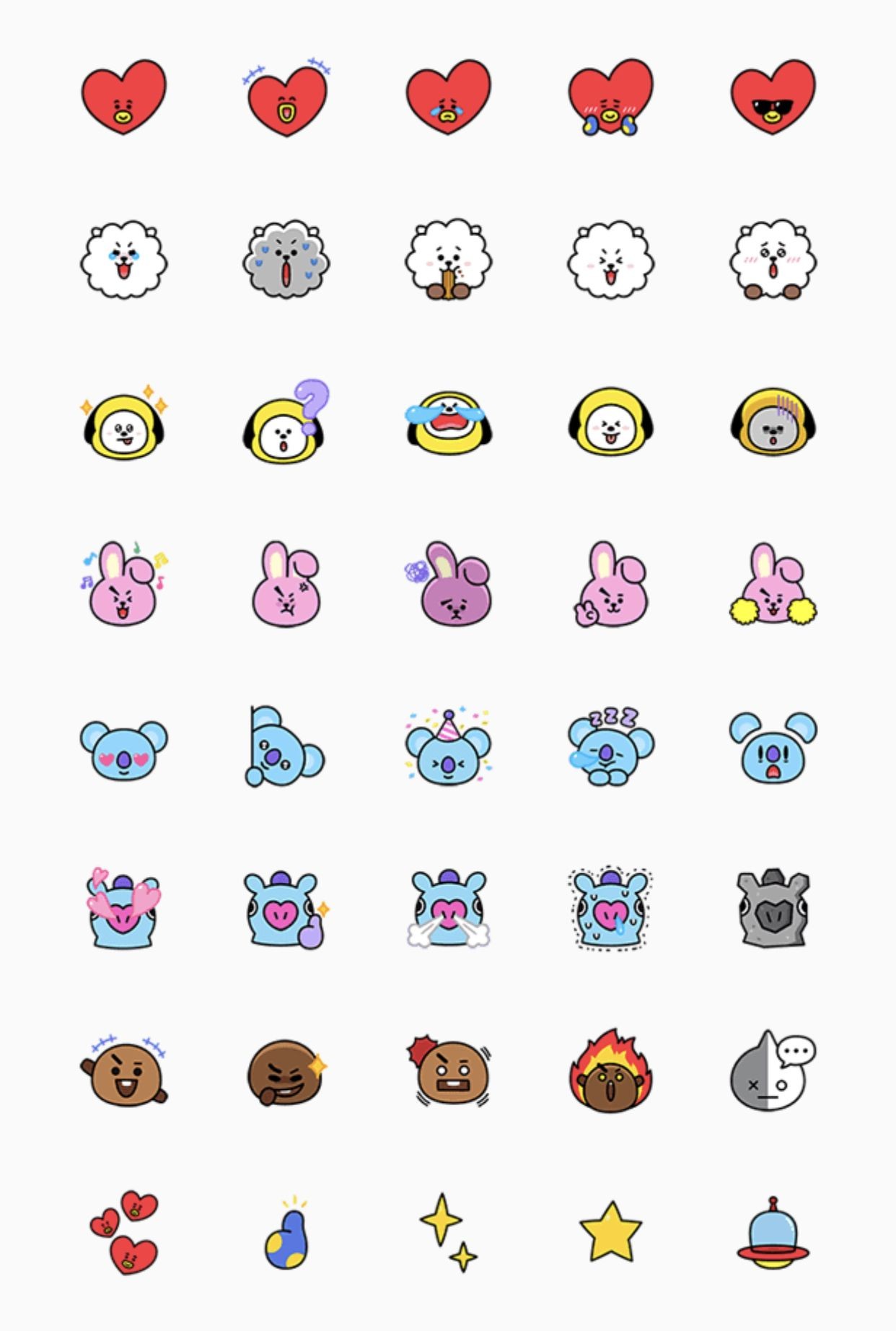 Universtar BT21 Must Have Emoji Set