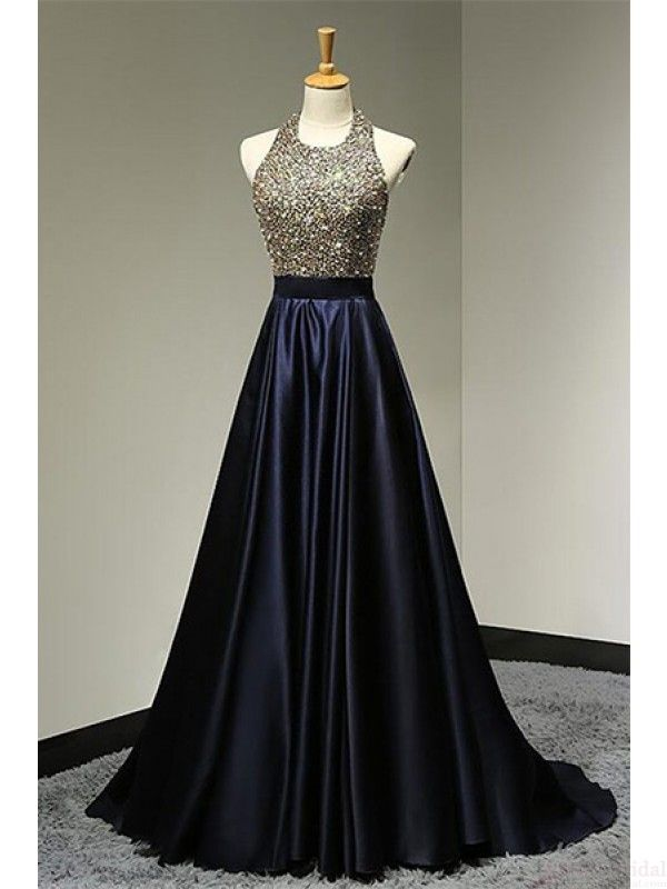 Halter Beading Bodice Backless Long Satin  Prom Dresses Evening  Dresses  #SIMIBridal #promdresses