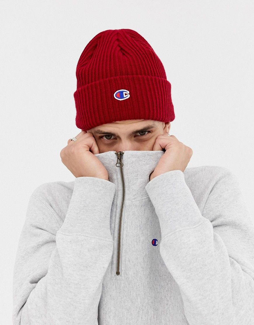 c028c8f7bd52d CHAMPION BEANIE WITH SMALL LOGO IN BURGUNDY - RED.  champion ...