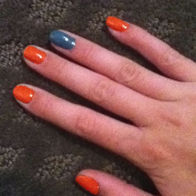 Orange OPI: hot and spicy  Blue revlon: chic Love doing  the ring finger a different color, so cute!