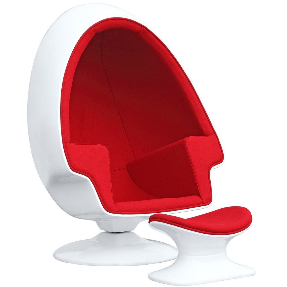 Alpha Egg Chair and Ottoman Red