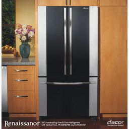 Renaissance 36 French Door Refrigerator Black Glass With Stainless Steel Trim Panel 19 8 Cu Ft Capacity By Dacor Refrigerator Prices Decor Dacor