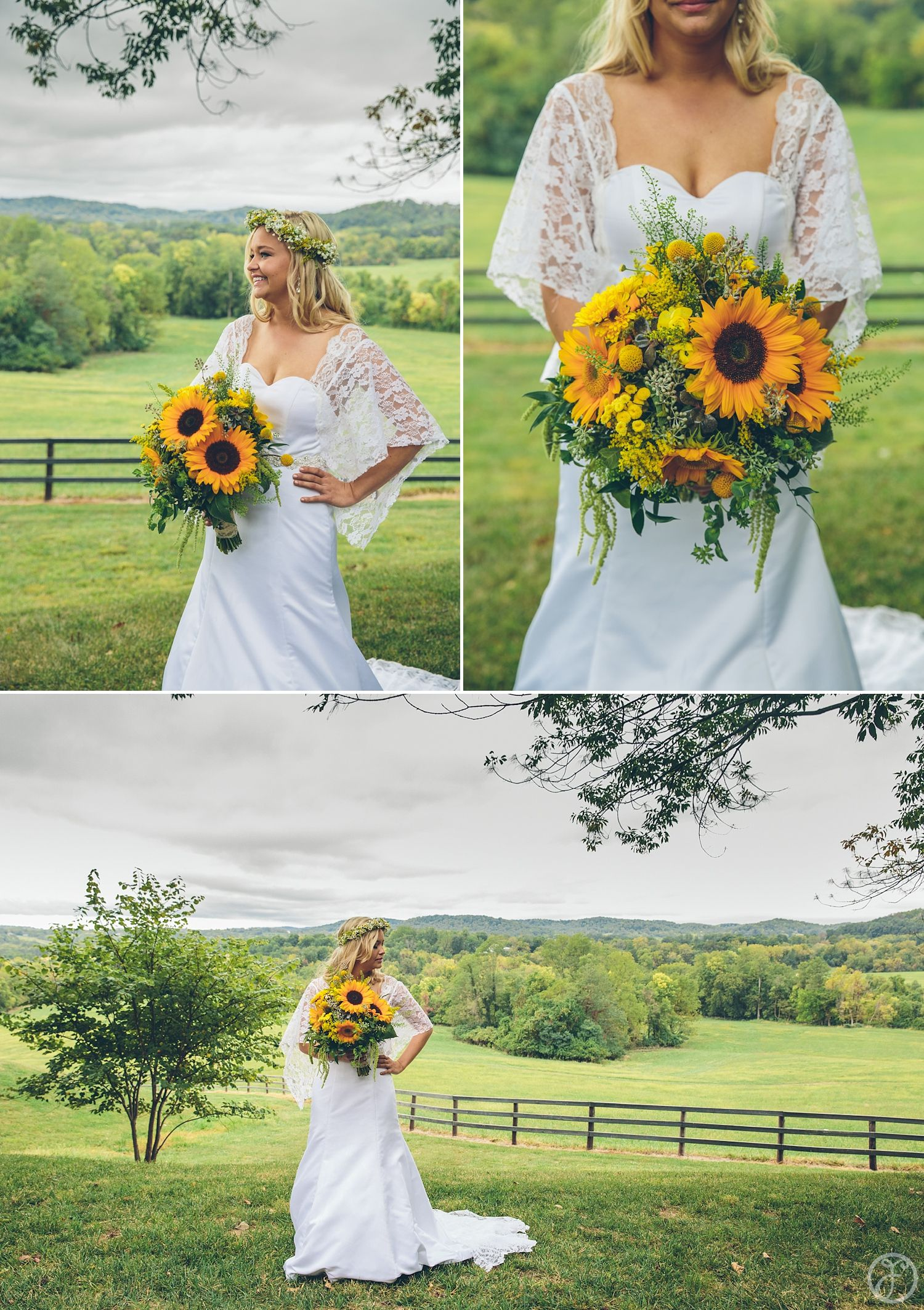 Vintage Wedding In The Country Sunflower Bouquet Vintage