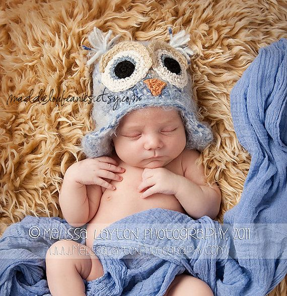 Owl hat Newborn baby blue fuzzy owl hat with by maddieloubeanies, $32.00