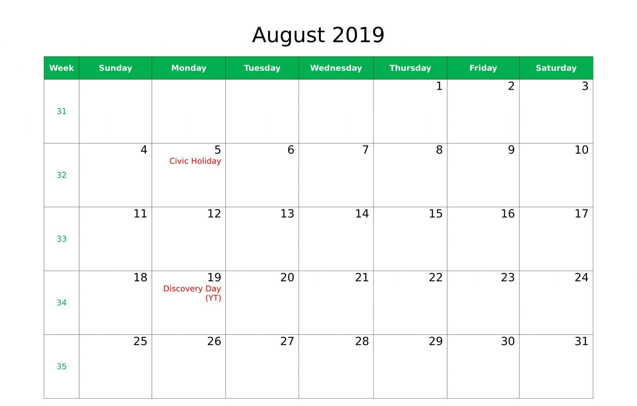 August 2019 Calendar With Holidays In Us Uk Canada Australia