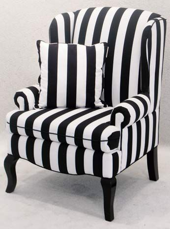 Amazing Black And White Striped Encore Wingback Chair, $125, Available Throughout  Southern California From Town U0026 Country Event Rentals.