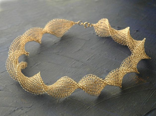 Photo of Golden crocheted necklace / swirl by YoolaDesign via DaW …