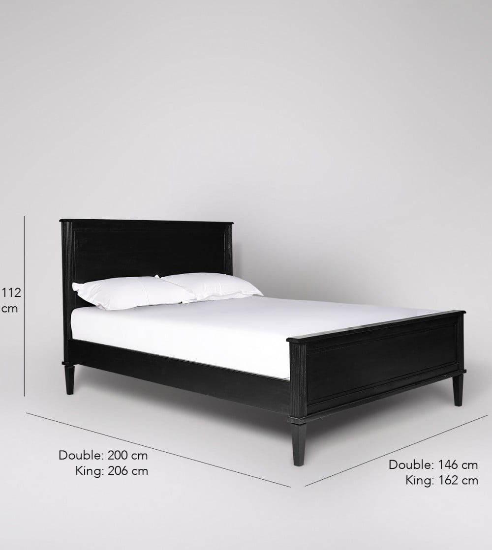 Claudine Mango Wood Black Double Bed Frame Swoon Black Bed