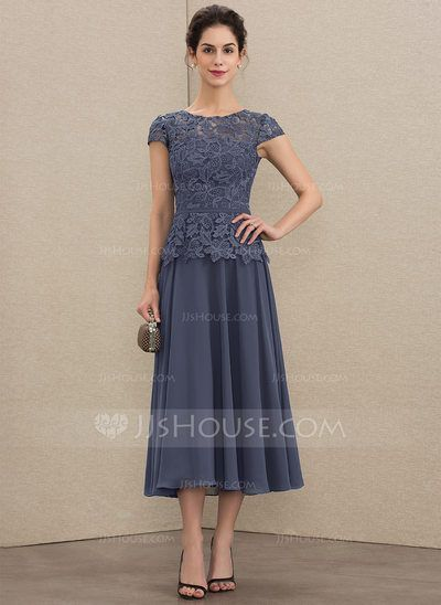 Bild von [€ 128.00] A-Linie U-Ausschnitt Wadenlang Chiffon Spitze Kleid fü