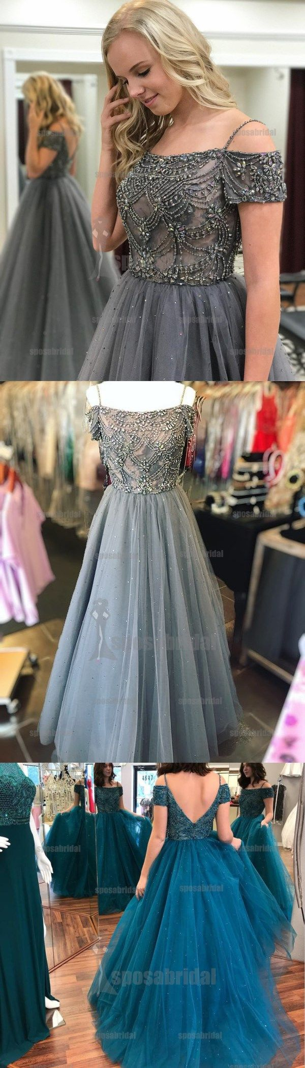 Off shoulder grey v back beaded tulle sparkly gorgeous party prom