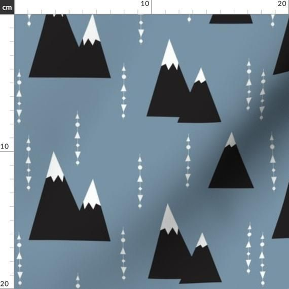 Mountain Geometric Fabric - Blue Mountain - By Elvelyckan ...