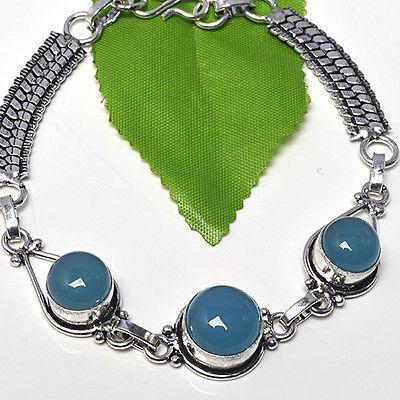 BLUE-CHALCEDONY-925-STERLING-SILVER-OVERLAY-HUGE-VINTAGE-BRACELET-JEWELRY-VJ