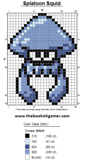 The Bookish Gamer Splatoon Squid 8bit Pixel Sprite Art